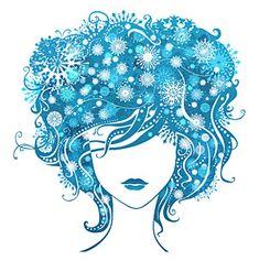 Vector Girl with Snowflake Hair