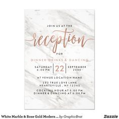 White Marble & Rose Gold Modern Wedding Reception Card White Marble & Rose Gold Modern Wedding Reception cards With trendy brush script font! ~Check my shop to see the entire wedding suite for this design!
