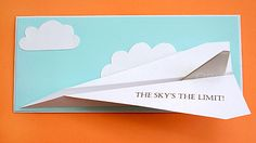 Printable paper airplane graduation card
