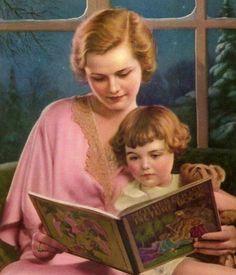 Original Vintage 1920's Art Deco Era Print of Mother Reading to Child