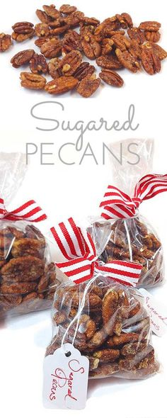 Pecans Sugared Pecans: a wonderful treat at Christmas or anytime. The perfect stocking stuffer.Sugared Pecans: a wonderful treat at Christmas or anytime. The perfect stocking stuffer. Christmas Snacks, Christmas Cooking, Christmas Candy, Holiday Treats, Holiday Recipes, Crochet Christmas, Diy Christmas, Handmade Christmas, Homemade Christmas Gifts Food