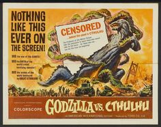 This is the best Godzilla vs. Cthulu poster you will ever see. That's not an idle boast either because Godzilla vs. Cthulhu images are m. Godzilla Wallpaper, Posters Vintage, Vintage Movies, Retro Posters, Cartoon Meme, Giant Monster Movies, Godzilla Vs, Original Godzilla, Classic Movie Posters