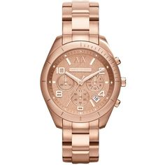 A|X Armani Exchange Women's Chronograph Rose Gold-Tone Stainless Steel Bracelet Watch 45mm AX5501 $220