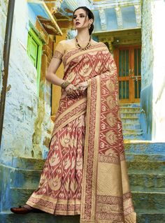 93edf8ddbb5a9 Buy Maroon Silk Saree With Blouse 144352 with blouse online at lowest price  from vast collection