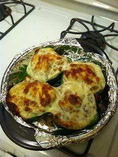 Healthy Philly Cheesesteak Stuffed Peppers. I made them with a rotisserie chicken instead of sliced beef.