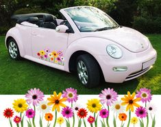 BEETLE GRAPHICS MINI 32 DARK  BLUE /& YELLOW DAISY CAR STICKERS