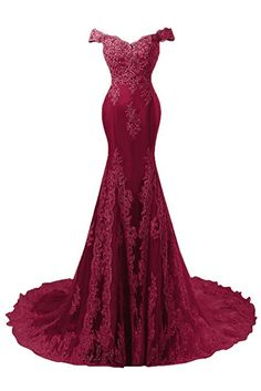 Amazon.com: Himoda Women's V Neckline Beaded Evening Gowns Mermaid Lace Prom Dresses Long H074: Clothing