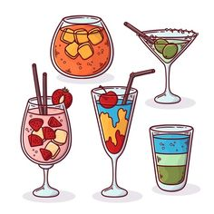 Pack of delicious drawn cocktails Free V... | Free Vector #Freepik #freevector #menu #party #restaurant #bar Type Illustration, Food Illustrations, Cute Food Art, Coffee Infographic, Food Drawing, Mandala Design, Restaurant Bar, Cute Drawings, Planner Stickers