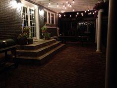 Herringbone Brick Patio, Pergola And Cafe Patio Lights.
