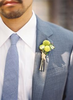 Groom in Dusty Blue, Blue-Gray Groom's Suit, Unique Groom's Suit