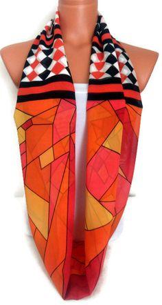 Geometrical Pattern Scarf Silk Chiffon Scarf by SuHandmadeStore