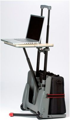 Cart Desk What could be cooler than a roller backpack for adults? How about a roller backpack that doubles as a workstation?  Despite dubious coolness, Cart Desk is indisputably practical for frequent air travelers. The cart is actually designed to fit through airplane aisles and fit in the overhead bins.