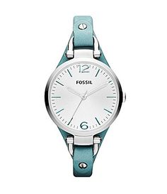 Fossil Georgia Turquoise Leather Strap Watch - add that to the list of things I waste money on