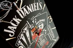 Handmade,metal wall clock for the whikey lover. Black,and white design.