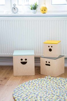 Ferm Living Storage Boxes with Faces l Aidan's Dreamy Room in Germany Nursery Tour Baby Toy Storage, Kids Storage, Storage Boxes, Storage Baskets, Storage Ideas, Lego Storage, Wood Storage, Toy Boxes, Living Room Storage