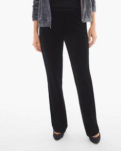 Chico's Women's Zenergy Velour Wide-Leg Pants, Black, Size: 4 (20 - XXL) REG