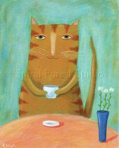 Afternoon Break - acrylic on canvas, Spiral Forest Studio, orange cat having coffee