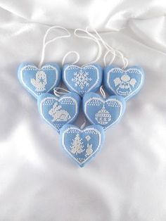 Set of christmas toys Christmas decorations Christmas decor diy Christmas gifts Christmas tree Christmas toys Christmas home decor Christmas handmade gifts Christmas ornament Blue white christmas hearts