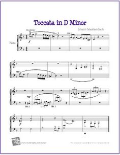 Toccata in D Minor (Bach) | Free Sheet Music for Easy Piano - http://makingmusicfun.net/htm/f_printit_free_printable_sheet_music/toccata-easy-piano.htm