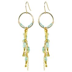 NEW for Spring/Summer!!!  Earrings, teal apatite gemstones, summer jewelry, gifts, Mothers Day, long earrings, chandelier earrings, gold earrings  $115.00
