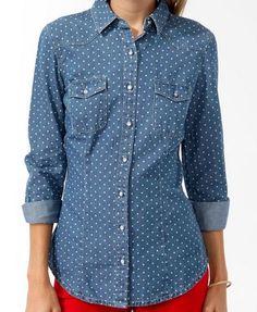 Polka Dot Chambray Shirt | FOREVER21 - 2025101494