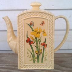 Vintage Tea Pot- Butterfly Garden Trellis Coffee Pot/ Tea Pot -Ceramic Ware by Enesco 1978 on Etsy, $26.00