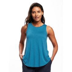 Old Navy Womens High Neck Tank ($11) ❤ liked on Polyvore featuring tops, blue, petite, old navy tank tops, old navy tanks, sleeveless tank tops, high neck sleeveless top and blue tank