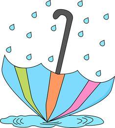 Umbrella and Rain Clip Art | Umbrella in a Rain Puddle Clip Art Image - umbrella open and tipped ...