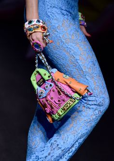 Pin for Later: Umbrella Hats, Cindy Crawford's Son, and More Things You Need to See From Moschino's Resort '17 Show And the Moto Jacket Bag Got a Colorful New Update
