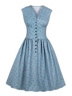 Women summer vintage dress floral print v-neck sleeveless pin up vestidos button fly evening party rockabilly retro dress Source by Dresses Elegant Dresses For Women, Button Up Dress, Front Button, Retro Dress, Dress Vintage, Vintage Floral, Vintage Style, Vintage Summer Dresses, Retro Style