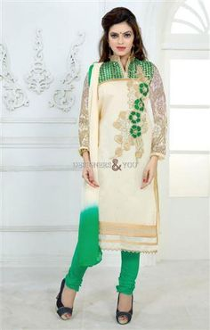 Punjabi designer suits with laces and crossia work around neckline with butta   Designers And You