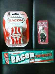Bacon toothpaste kit includes: - Bacon Toothpaste - Bacon Toothpicks - Bacon Floss