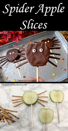 Spider Apple Slices Spider Apple Slices The post Spider Apple Slices appeared first on Halloween Treats. Halloween Desserts, Postres Halloween, Halloween Apples, Halloween Treats For Kids, Easy Halloween, Halloween Decorations, Halloween Crafts, Halloween Party Foods, Preschool Halloween Party