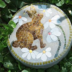 Mosaic stepping stones to decorate a path or walkway                                                                                                                                                      More