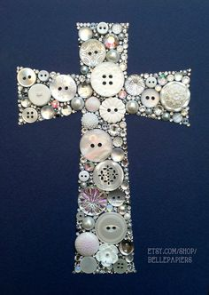 11x14 Button Art Cross Buttons and Swarovski Rhinestones Custom Wall Art on Etsy, $299.00