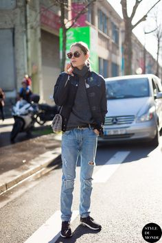 Caroline Brasch Nielsen After The kenzo Fashion Show: Grey Top, Floral Print Jacket And Ripped Jeans