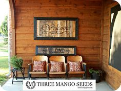 Three Mango Seeds: Half the size PALLET SIGN