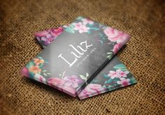 Liliz Mobile Flower Boutique Business Card - gld/frd - Branding and truck graphics for a mobile flower boutique. The truck itself serves as a flower shop and stops at different locations.