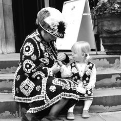 Pearly Princess and her Great-Grandmother, the Pearly Queen of Crystal Palace at Harvest Festival, St Paul's Church, Covent Garden