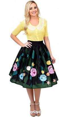 1950s Style Black & Green High Waist Puffer Fish Swing Skirt