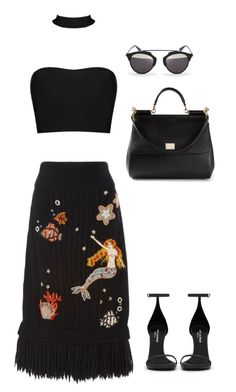 """Senza titolo #4545"" by marcellamic ❤ liked on Polyvore featuring RED Valentino, Yves Saint Laurent, Dolce&Gabbana and Christian Dior"