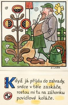 Kalamajka – Když já přijdu do zahrady, 1913 Stamp Carving, Children's Book Illustration, Blue Bird, Childhood Memories, Childrens Books, Illustrators, Folk Art, The Past, Clip Art