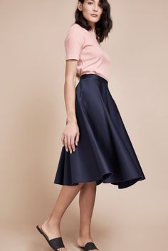 Navy A line skirt in a beautiful Midnight blue organic cotton sateen by our latest ethical brand addition BYEM. Midi Flare Skirt, Ethical Brands, Corduroy Skirt, Satin Skirt, Fashion Group, Sustainable Fashion, Sustainable Style, Ethical Fashion, A Line Skirts