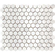 "Carrara Hexagon 1"" x 1"" Stone Mosaic Tile in White Polished"
