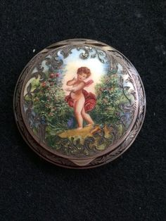 Vintage Sterling Silver Enamel round COMPACT from AUSTRIA hand painted cherub