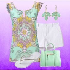 Mint Paisley Blouse, created by maggiesuedesigns on Polyvore