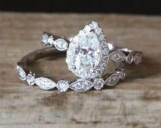 Art Deco C&C Moissanite Engagement Ring Set 5*8mm Pear Cut Forever One Moissanite Ring Half Eternity Wedding Ring 14K White Gold Bridal Set #weddingring