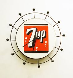 1950's Atomic 7up Clock  Advertising Clock  Seven Up by fifisfinds, $98.00
