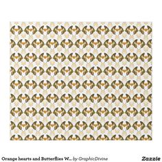 Orange hearts and Butterflies Wrapping paper