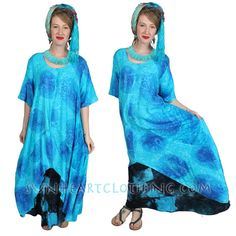 SUNHEART Hi-Low Asym HERA Tunic Top or Dress Festival Resort Boho Hippie Chic one-size  fits Sml-Med-Large-xl-1x-2x-5x